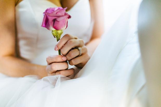 Joel Bedford Photography; Le Belvedere Wedding Quebec; McCaffrey Couture Gown; Classic Purple Wedding Décor;