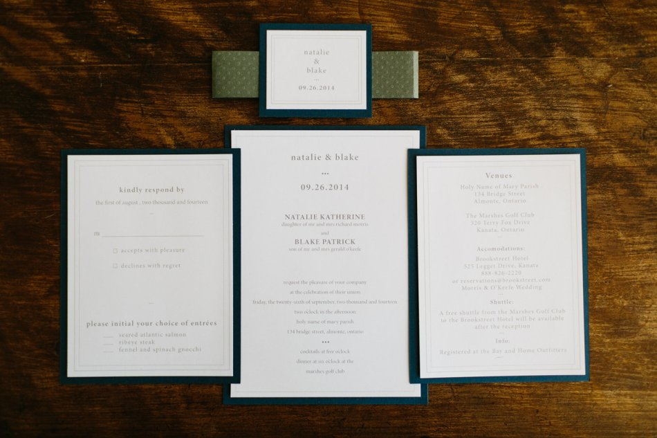 Joel Bedford Photography; Brookstreet Ottawa Wedding; Elegant Invitations;