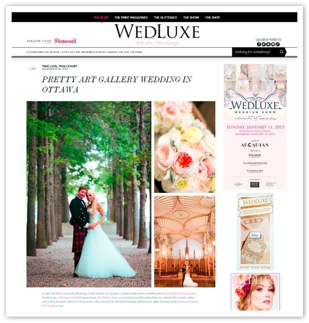 Joel Bedford Photography; National Gallery of Canada Wedding; Wedluxe Magazine;